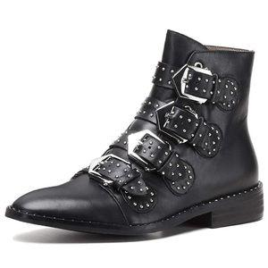 Shoes - Cute buckle stud biker boots